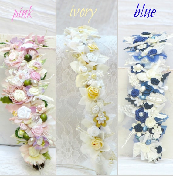 Bridal flower crown boho wedding flower crown, choose your color... bridal ivory flower crown, bridal pink flower crown, blue flower crown
