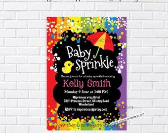 Rainbow Baby sprinkle invitation, Sprinkle shower, baby shower invitation, Confetti baby shower , baby girl baby boy -card  987