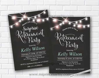 Retirement Invitations, Retirement party Invitation, Retirement Celebration retro vintage Invite, chalkboard blackboard design- card 510