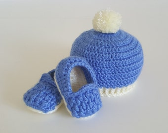 """Crochet Baby Hat and """"Woven"""" Slippers (0-3 months)"""
