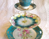 Teal 3-Tier Cupcake Tower Display Stand Centerpiece  Vintage China Plates with Teacup Tiered Blue Wedding Dessert Tray By High Tea for Alice