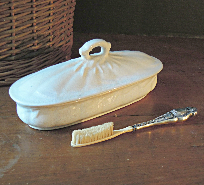Vintage ironstone victorian tooth brush holder pot and lid - Victorian toothbrush holder ...