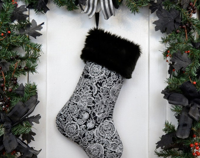 Day of the Dead Sugar Skull Flowers Christmas Stocking