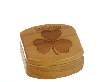 Ireland Wooden Box, Solid Cherry, Pattern MS54, Irish Clover, Guitar Box, Small Pill Box, Jewellry box, Paul Szewc, Masterpiece Laser