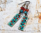 Summer Beach Blue Turquoise Red Enameled Copper Charm Earrings