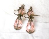 pale pink crystal earrings pink earrings vintage style earrings dangle earrings brass earrings filigree earrings victorian style earrings