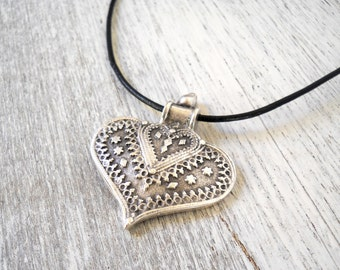 ethnic pendant necklace heart necklace tribal pendant necklace ethnic necklace heart jewelry boho necklace matte silverplated pendant