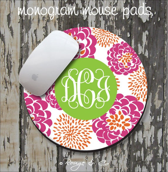 HIBISCUS PEONY Personalized Mouse Pad, Personalize Mousepad, Monogrammed Mouse Pad, Monogrammed Mousepad, Custom Mouse Pad, Custom Mousepad