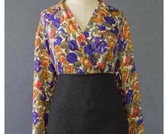 SALE - Vintage Floral Silk Blouse 80s Blouse Wrap Blouse Silk Shirt Floral Print Secretary Blouse 1980s Blouse Floral Blouse
