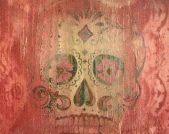 Decorative Wall Art with Day of Dead Theme - Sugar Skull in Red #1