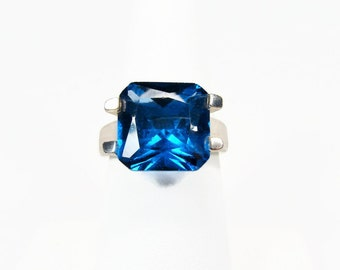 Electric Blue Sterling Silver Ring, Size 8, Square Cut, Vintage Ring, 925 Silver, Bright Blue, Ladies Ring, Vintage Jewelry, 925 Ring