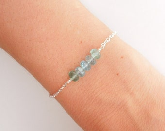 Blue Apatite Bracelet in Silver - Aqua and Silver