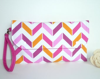 Diaper Clutch, Nappy Wallet with Wrist Strap - Pink and Orange Chevron