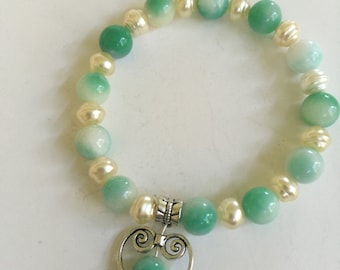 Jade and Pearl with Heart Bracelet