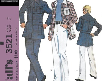 McCalls 3521 Men's 70s Sport Jacket & Pants Sewing Pattern Chest 46
