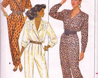 Butterick 5729 Women's 80s Jumpsuit Sewing Pattern Size 6 8 10 Bust 30.5 to 32.5