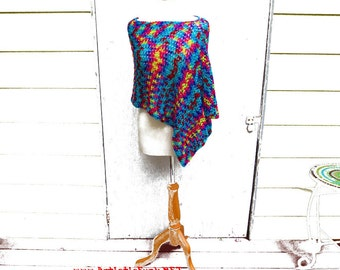 Short Cropped Poncho, Tie Dye Look Rainbow Poncho, Asymmetrical, Women's Poncho, Boho Poncho, Boho Clothing, Boho Fashion, Plus Size Poncho