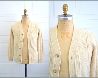 1960s Lahmar Cream Cable Cardigan Sweater