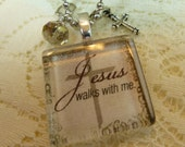 For Regina/ 6-Jesus Walks With Me Glass Tile Pendant Collection Necklace with Dangles on Silver Plated Ball Chain