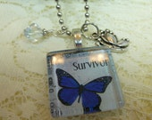 Blue Butterfly Survivor Glass Tile Pendant Collection Necklace with Dangles on Silver Plated Ball Chain