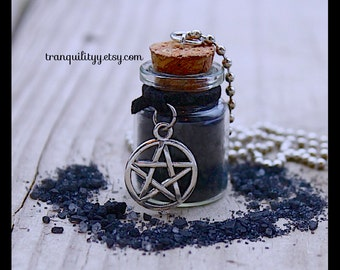 Black Salt Necklace , Supernatural Protection , Black Tourmaline Wicca !Purification, Banishing, Glass 5ml vial ,  Magick, By: Tranquilityy