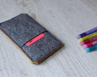 Nexus 6P, 6, Nexus 5X, 5, Nexus 4 case sleeve cover pouch handmade dark felt and orange with pocket