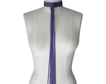 Chokers for women - Leather Choker  - Purple - Leather Fringe Necklace - Hippie Choker - Boho Choker - Sample Sale - Leather Jewelry -