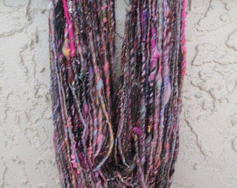 Handspun art yarn ABANDON 89 yards free U.S. shipping; red, pink, blue, brown, black, purple, green, gray, orange