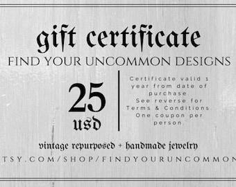 25 dollar gift certificate gift card gift for her christmas gift birthday gift gift for him secret santa gift