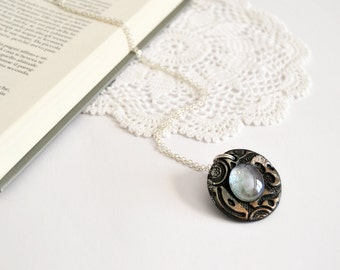 Necklace with round locket pendant in bronze polymer clay and glass, one-of-a-kind OOAK