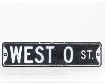 Vintage Street Sign, Black Street Sign, Metal Street Sign, Traffic Sign, Black and White Street Sign, Industrial Decor, Old Street Sign