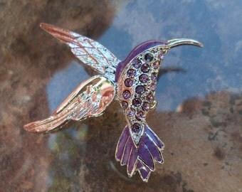 Hummingbird Pin! Purple Swarovski Crystals & Purple Enamel! Silver Plated Hummingbird! A Beautiful Pin! Hummingbird Lovers! Ships Free Sale!