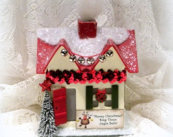 Christmas Decoration, Holiday Decor, Mantle Decor, Christmas Music Box, Music Box, Lighted Cottage, Christmas Gift, Putz House, Jingle Bells