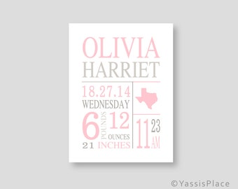 Birth stats etsy canvas birth stats wall art baby girl pink nursery art pink gray birth announcement personalized baby negle Image collections