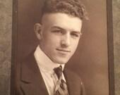 Peaky Blinders Handsome Gentleman Vintage Victorian Cabinet Card Studio Portrait