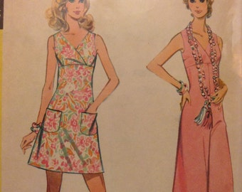 Vintage McCall's 2442 Surplice Bodice Dress or Jumpsuit Sewing Pattern 35 Inch Bust