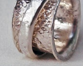 Sterling Silver Spinner Rings C for Pinkie Finger Size 2.5 Hand Forged