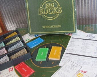 """Vintage 80's """"Big Bucks The World of Finance"""" - 1986 - 6 players - Family Game Night - Business - Money - 80's Board Game  - Boardgame"""