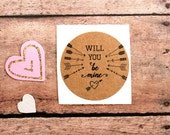 Will You Be Mine, Valentine Envelope Seals, Valentine Labels, Love Stickers, Be Mine