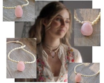 Rose Quartz Choker Pendant / Macramé Pink Stone Necklace / Scarlett O'Connor Nashville Necklace / Macramedamare