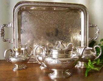 Vintage Tea Service Wilcox Silver Plate Tea Service Sheridan Silver Plate Serving Tray Teapot Creamer Sugar Waste Pot Mid Century 1950s