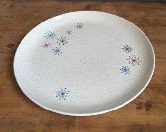 "Vintage W. S. George Celeste 10"" Dinner Plate Mid Century Atomic Starburst Design Space Age"