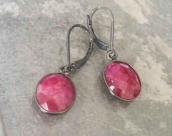 Silver Ruby Dangle Earrings, Silver Ruby Earrings, Silver Ruby Dangles, Ruby Earrings, Ruby Dangles