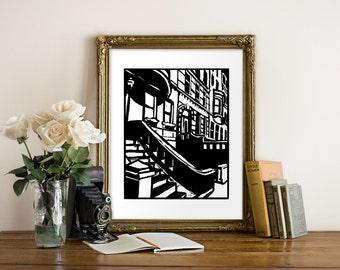 Brooklyn Brownstones Giclee Print - NYC - Woodcut Style - Brooklyn Art, New York Art, NYC Art, New York Brick Art, Black and White