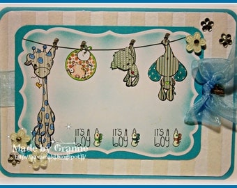 INSTANT DOWNLOAD Includes Sentiments Kawaii New Baby Hanging Stuffies Its A Boy/Girl ~ We're Here For The Baby No.269 by Lizzy Love