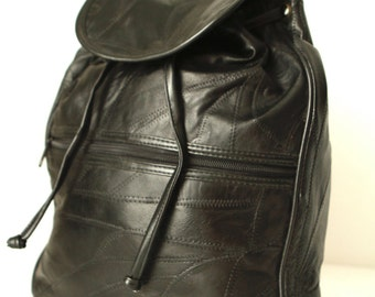 90s black LEATHER RUCKSACK backpack mini patchwork purse bag backpack club hip hop rap