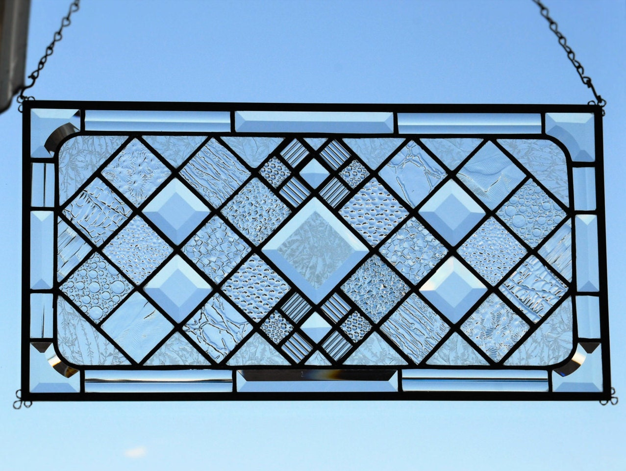 Stained Glass Window Panel Clear Geometric Beveled Window