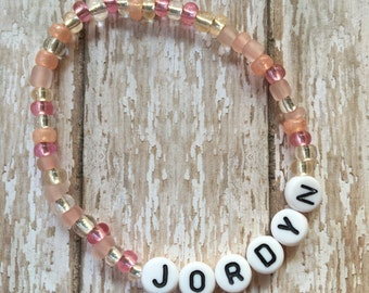 NEW COLORS-Spa Day Mix-Personalized Beaded Stretch Bracelet-Any Name Word or Phrase-Stackable
