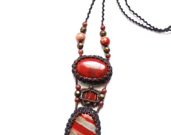 Red Jasper Natural Gemstones and Cabochon Long Necklace