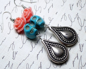 Day of the Dead Dia de los Muertos Blush Pink Rose Turquoise Skull Dangle Hypoallergenic Earrings
